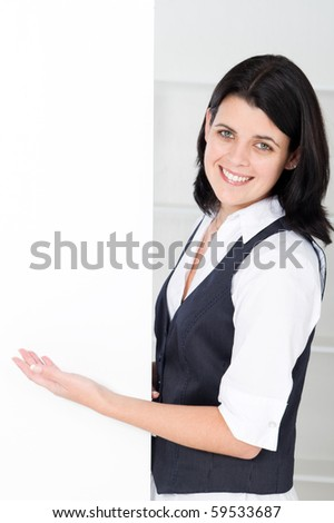 businesswoman presenting on white board - stock photo