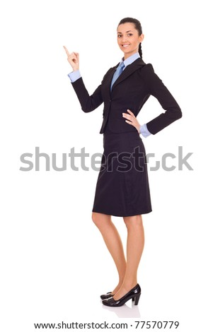 businesswoman presenting or showing your product isolated over white background - stock photo