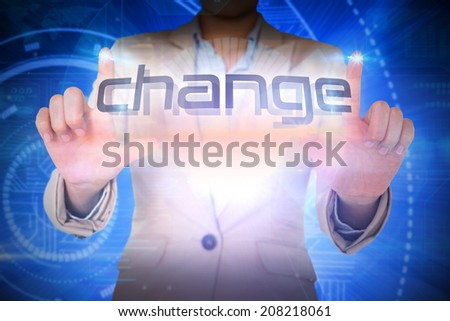 Businesswoman presenting the word change against futuristic shiny blue design - stock photo