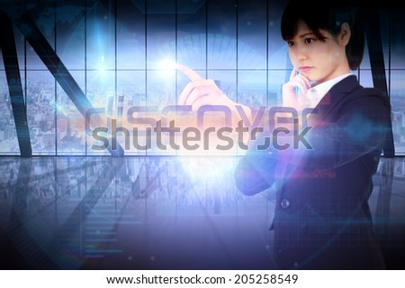 Businesswoman presenting the word discover against room with large window looking on city - stock photo