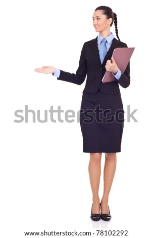 businesswoman presenting your product isolated on white background - stock photo