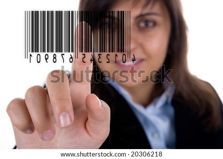 businesswoman pressing barcode isolated on white background