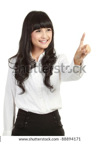 Businesswoman pressing button or something. Isolated on white background with copy space for your design. - stock photo