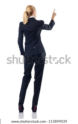 Businesswoman pressing buttons in the air