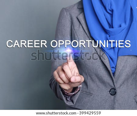 Businesswoman pressing career opportunities button on virtual screens - stock photo