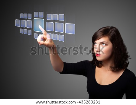 Businesswoman pressing high tech type of modern buttons on a virtual background - stock photo