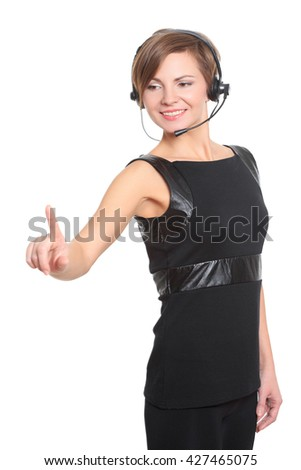 Businesswoman pressing high tech type of modern buttons on a virtual keyboard - stock photo