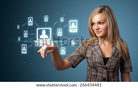 Businesswoman pressing modern social buttons on a virtual background - stock photo