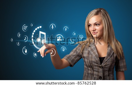 Businesswoman pressing multimedia type of modern buttons with virtual background
