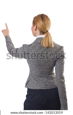 Businesswoman pressing virtual buttons on white - stock photo