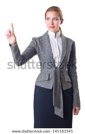 Businesswoman pressing virtual buttons on white