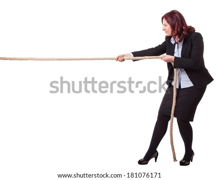 businesswoman pull rope isolated on white background