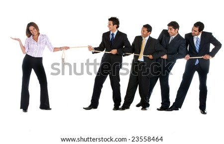 Businesswoman pulling a rope against some businessmen isolated on white