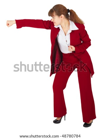 Businesswoman punching isolated on a white background