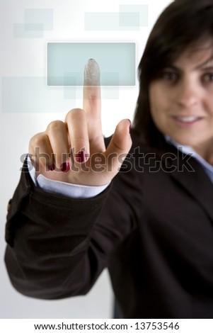 businesswoman pushing button - stock photo