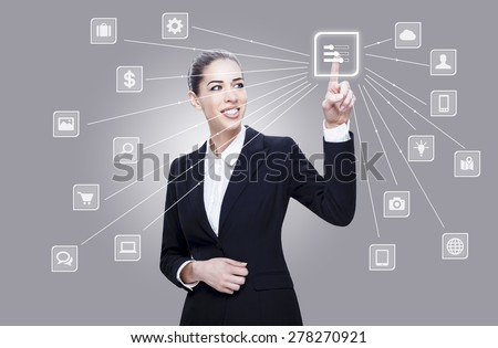 Businesswoman pushing touch cloud button - stock photo