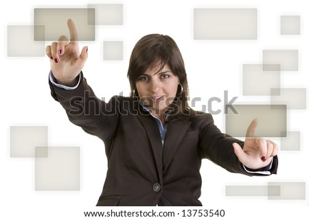 businesswoman pushing two buttons - stock photo