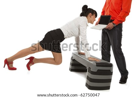 Businesswoman pushing up on steppes - stock photo