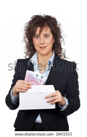 Businesswoman put euros bills on the envelope over a white background