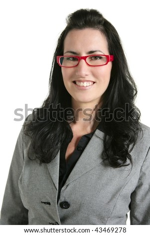 Businesswoman red glasses portrait gray suit white background - stock photo