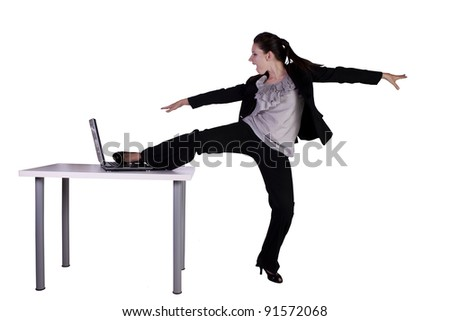 Businesswoman relaxing in the office by hula-hooping - stress-free work environment