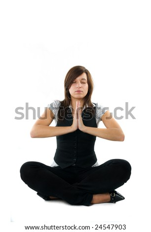 Businesswoman relaxing, meditating. Isolated on white background