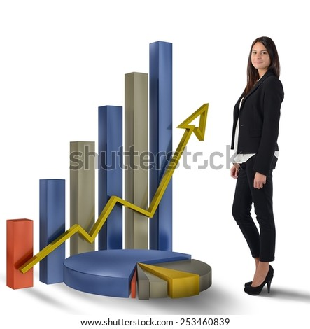 Businesswoman satisfied with the profit and productivity - stock photo
