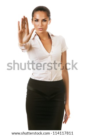 businesswoman says to stop on white background - stock photo