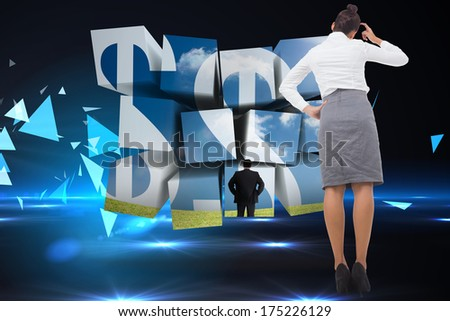 Businesswoman scratching her head against small pyramids on technical background - stock photo
