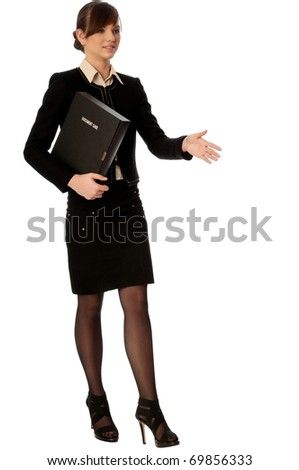 businesswoman shook hands with her partner on the meeting - stock photo