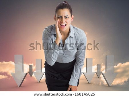 Businesswoman shouting against red and grey arrows pointing against sky - stock photo