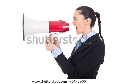 businesswoman shouting in a megaphone against white background, side view