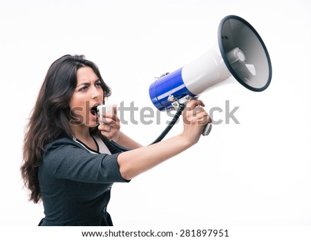 Businesswoman shouting in megaphone isolated on a white background