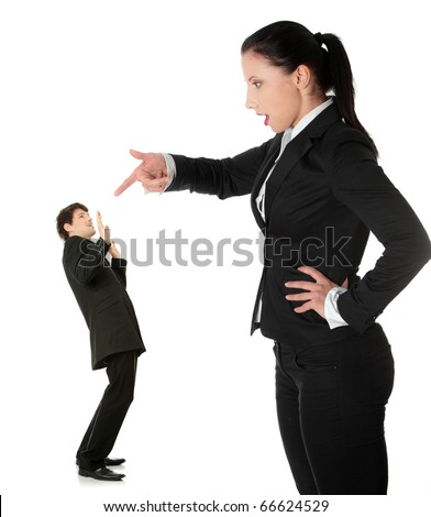 Businesswoman shouting on man, isolated on white background - stock photo