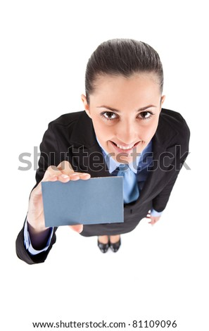 businesswoman shoving  business card, isolated on white background,  top view - stock photo