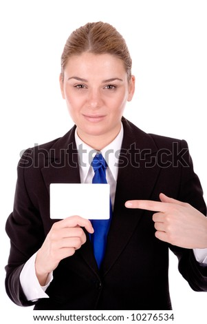 Businesswoman show blank business card for your message.