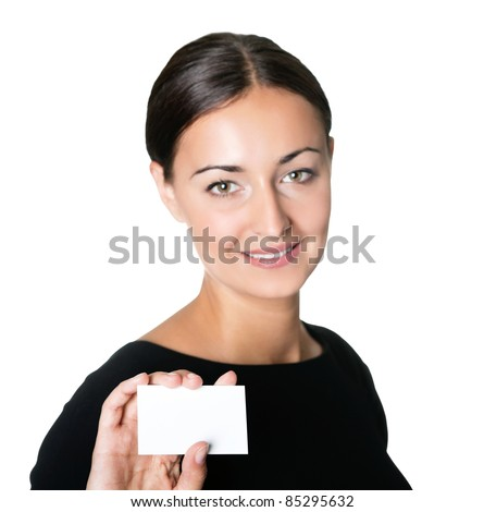 Businesswoman showing a blank business card - stock photo