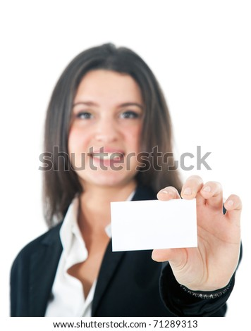 Businesswoman showing a blank greeting card - stock photo