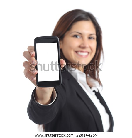Businesswoman showing a blank smart phone screen isolated on a white background - stock photo