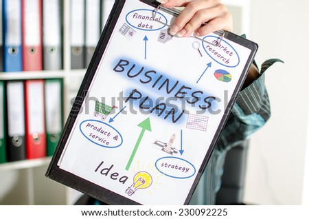 Businesswoman showing a business plan