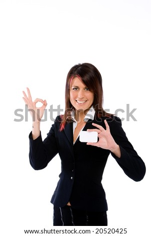 businesswoman showing a card and making the ok sign - stock photo
