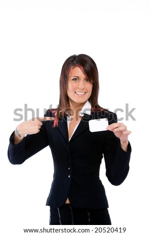 businesswoman showing a card and pointing it with the finger