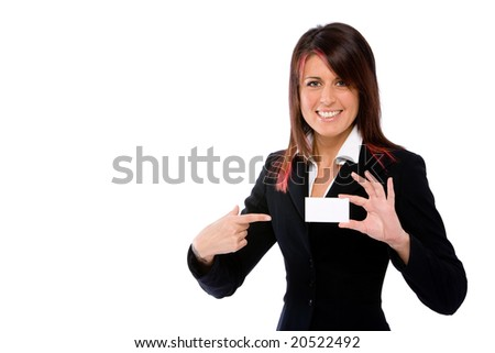businesswoman showing a card and pointing it with the finger - stock photo
