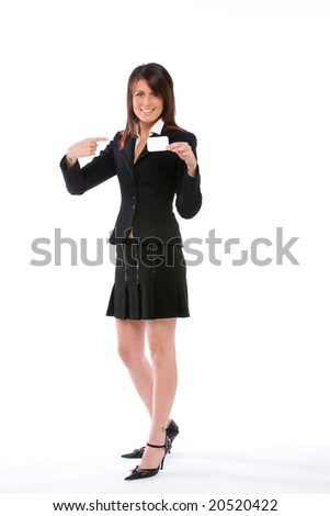 businesswoman showing a card and pointing it with the finger,full figure - stock photo