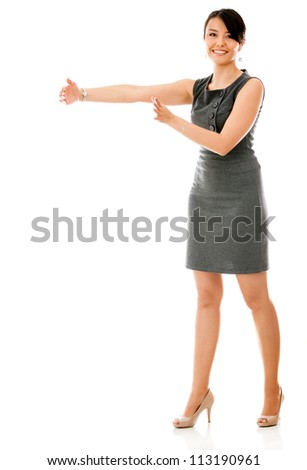 Businesswoman showing a gap - isolated over a white background