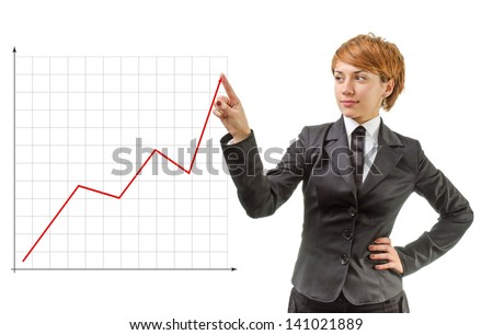 Businesswoman showing a graph