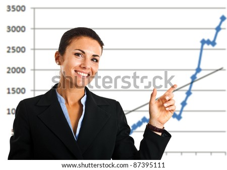 Businesswoman showing a growing business graph isolated on white - stock photo