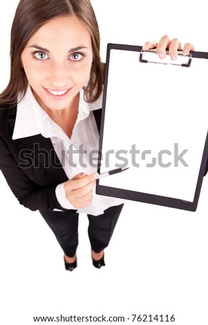businesswoman showing blank paper,  copy space, isolated on white - stock photo