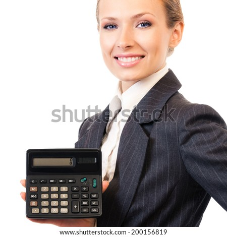 Businesswoman showing calculator, isolated on white