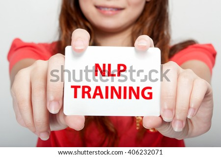 Businesswoman showing card with speak? englesh message,